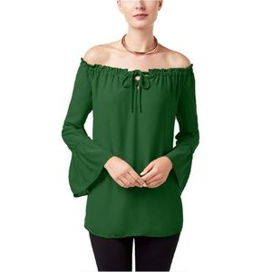 Alfani Green Off-The-Shoulder Bell-Sleeve Top